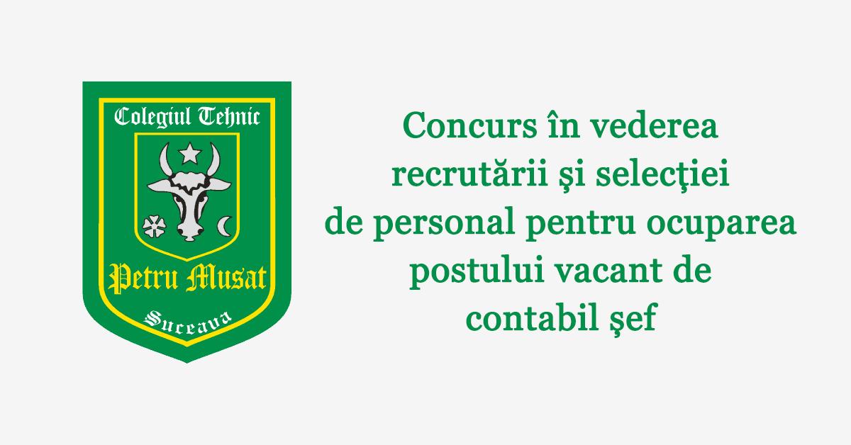 Concurs în vederea recrutării și selecției de personal pentru ocuparea postului vacant de contabil șef