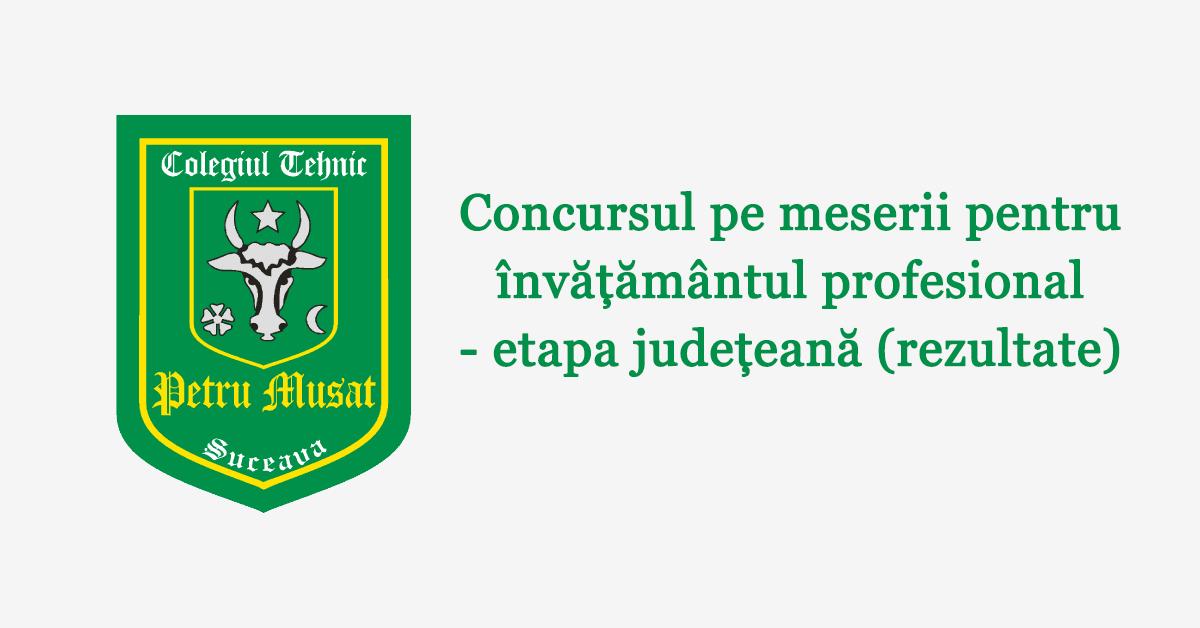 Concursul pe meserii pentru învățământul profesional – etapa județeană (rezultate)