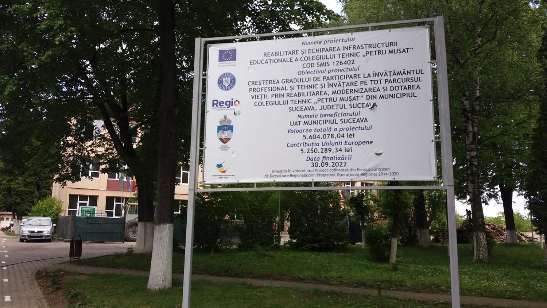 Reabilitarea și echiparea infrastructurii educaționale a Colegiului Tehnic Petru Mușat