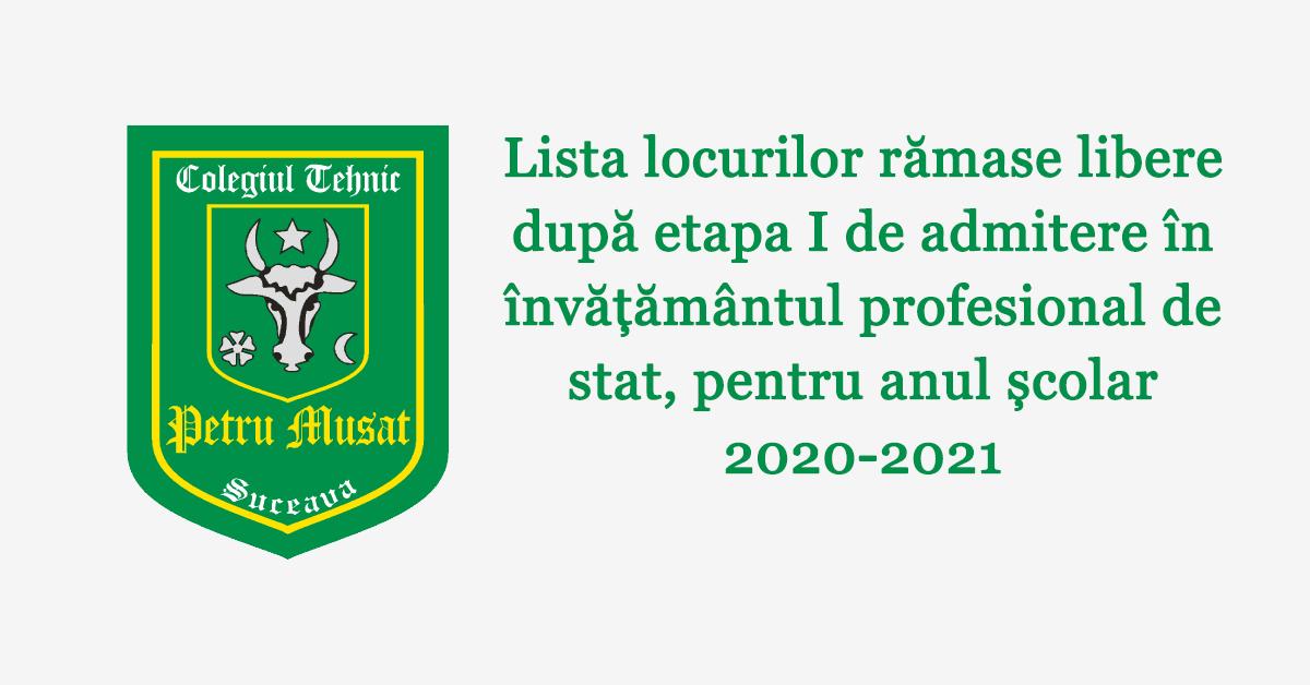 Lista locurilor rămase libere după etapa I de admitere în învățământul profesional de stat, pentru anul școlar 2020-2021