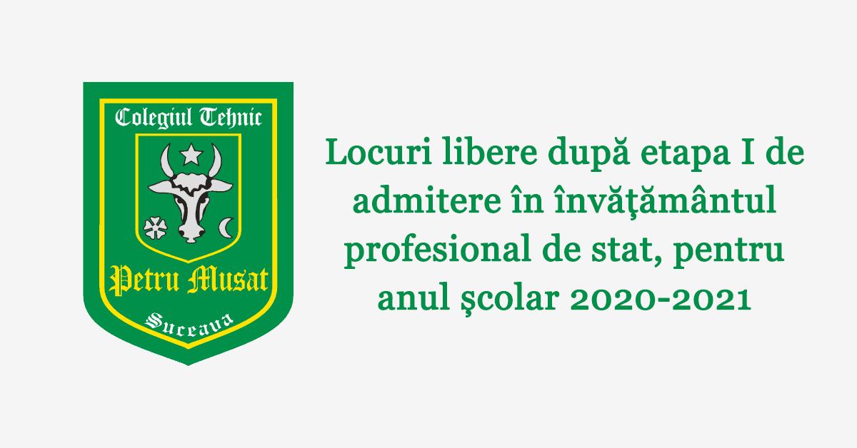 Locuri libere după etapa I de admitere în învățământul profesional de stat, pentru anul școlar 2020-2021