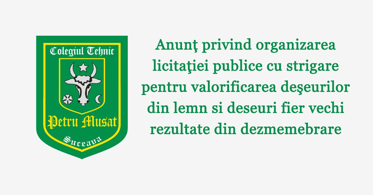 Anunț privind organizarea licitaţiei publice cu strigare pentru valorificarea deşeurilor din lemn si deseuri fier vechi rezultate din dezmemebrare
