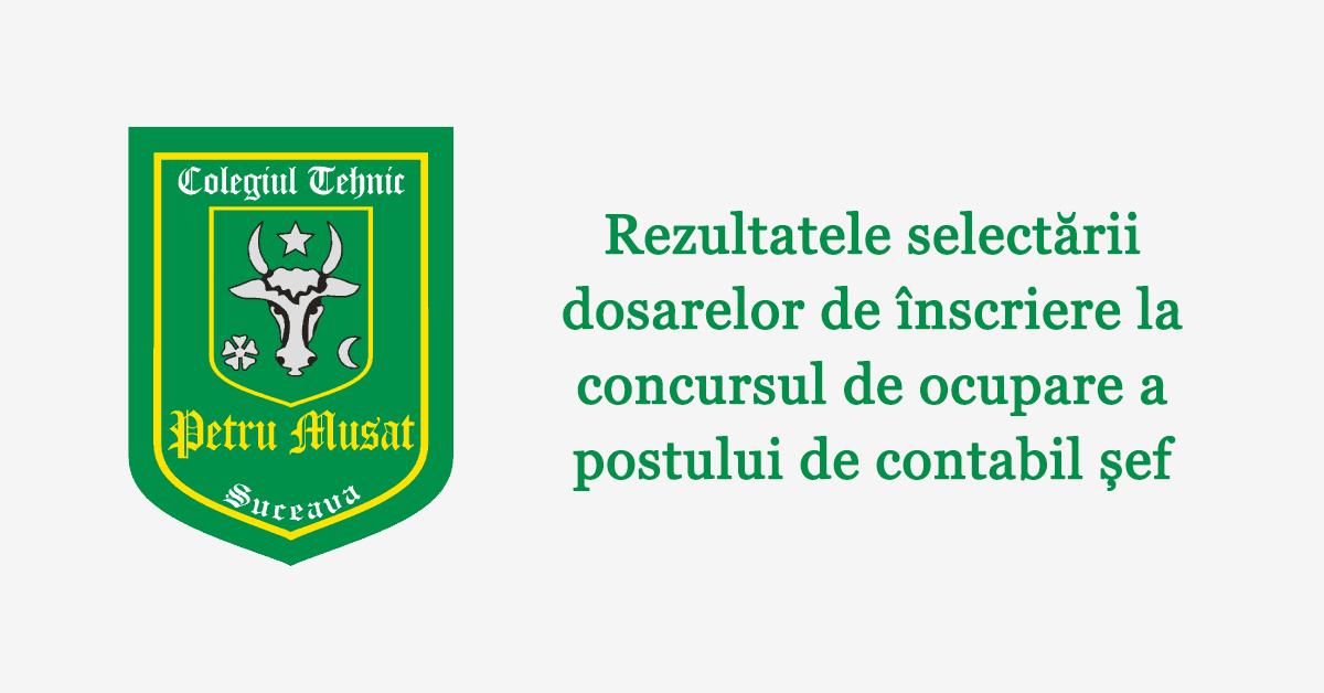 Rezultatele selectării dosarelor de înscriere la concursul de ocupare a postului de contabil șef