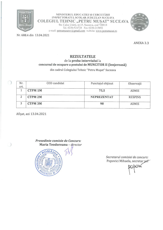 Rezultatele de la proba interviului la concursul de ocupare a postului de muncitor II (lenjereasă)