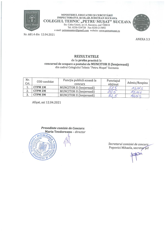 Rezultatele de la proba practică la concursul de ocupare a postului de muncitor II (lenjereasă)
