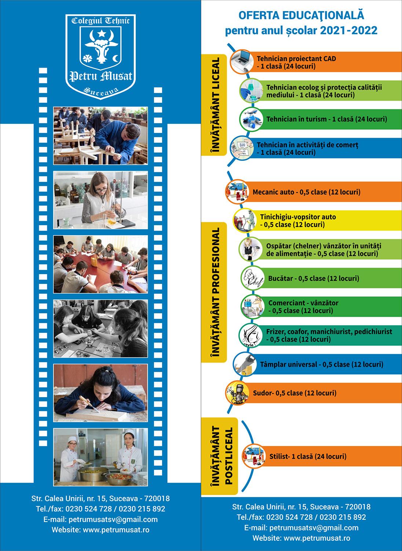 Oferta educațională pentru anul școlar 2021-2022
