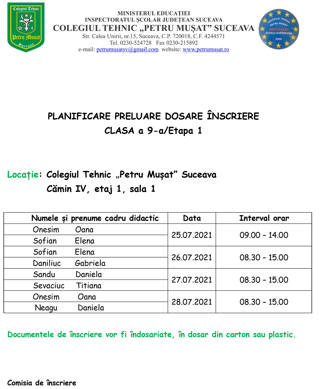 Calendarul primei etape de preluare a dosarelor de înscriere pentru clasa a IX-a