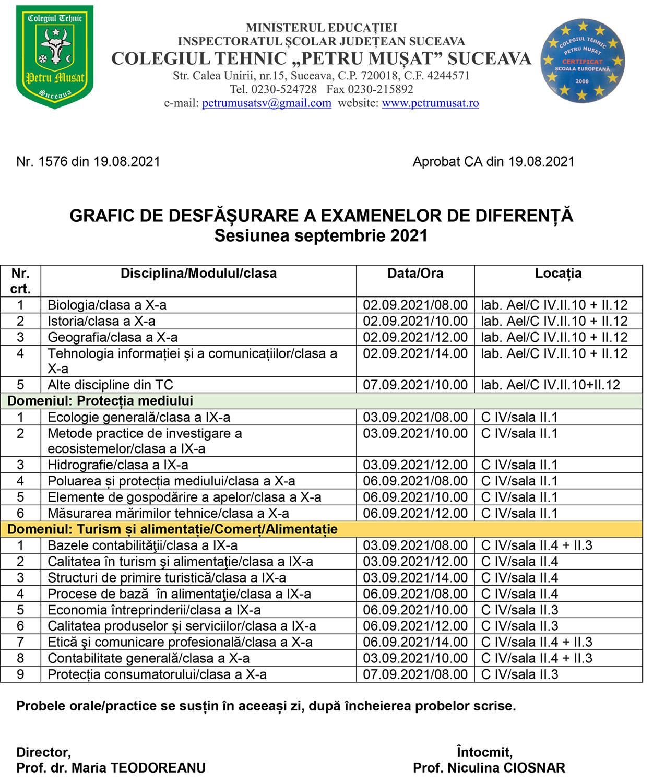 Graficul de desfășurare a examenelor de diferență - sesiunea septembrie 2021