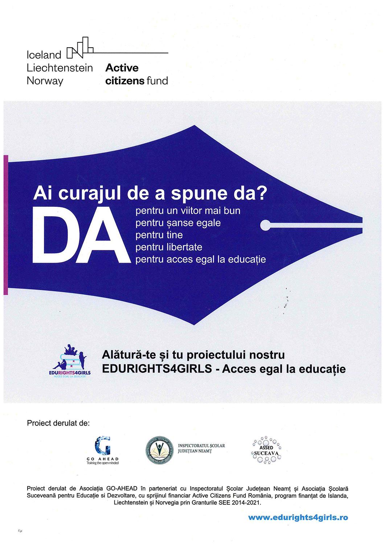 Alătură-te și tu proiectului EDURIGHTS4GIRLS – Acces egal la educație